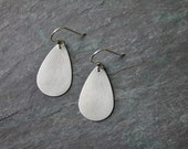 Handmade Sterling Silver Teardrop Earrings - Matte - Brushed Silver - Jewelry - Apogee - Heather Sorrell - Classic Elegant Everyday gift