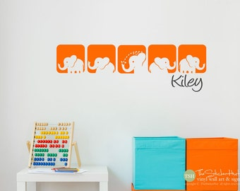Elephant Squares with Your Custom Name - Theme Nursery Kids Bedroom - Decor - Vinyl Wall Art Graphics Decals Stickers 1841