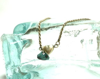 Destash - Beach Pebble Sterling Silver Ankle Bracelet with Leland Blue Stone Silver Anklet Twist 925 Sterling Marked Oxidized