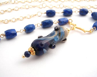 27 Inch Chain Necklace With Lampwork Pendant, Gold, Lapis Lazuli, Dark Blue, Long Necklace