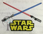 Star Wars Sabers with Logo Applique, Star Wars Applique Embroidery Design