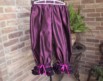 Saloon girl knickers, renaissance dressy bloomers, Courtesan pantaloons, Victorian knickers--magenta taffeta