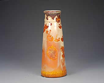 Porcelain Vase - Gold, Orange - Crystalline Glaze on High-Fired Porcelain - Hand Made Pottery - FREE SHIPPING - #L-193