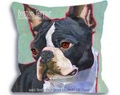 Boston Terrier pillow Boston terrier home decor art pillow 18x18  customize with dog name