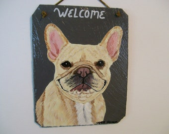 Welcome Slate with a French Bulldog (lt tan)