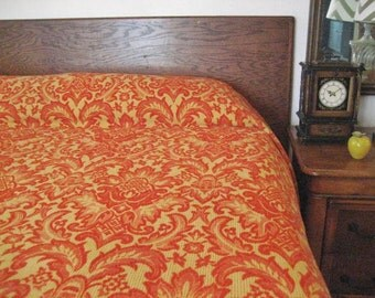 Vintage King Size Woven Jacquard Red and Gold Bedspread by Bates