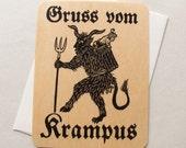 Krampus fine art wood veneer greeting card