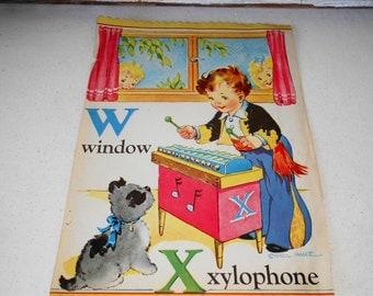 Vintage ABC Page from Saalfield Pub. Co. Book, W X Page, Vintage Alphabet,  Vintage Baby Nursery