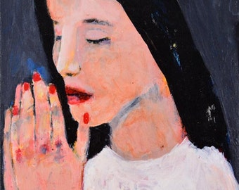 Acrylic Religious Portrait Painting - Girl Praying - Spiritual Wall Art - Zen Meditation Prayer - Praying Hands - Mother Gift For Her