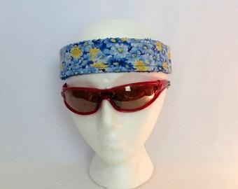 Adjustable Sweatband / Headband - Blue and Yellow Flowers