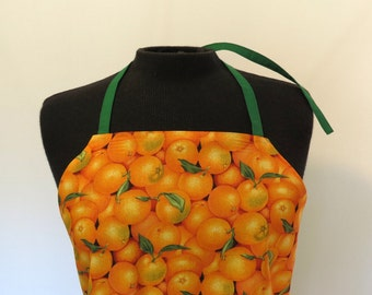 Full Apron - Oranges - with Pocket and long ties