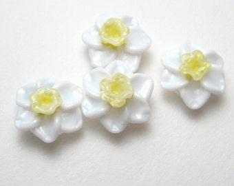 Handmade Lampwork Bead Pairs, DAFFODILS Narcissus, Jonquil, artisan glass flower beads