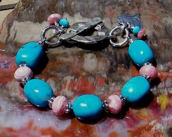 Turquoise, Rhodochrosite Handcrafted Artisan Sterling Silver Bracelet