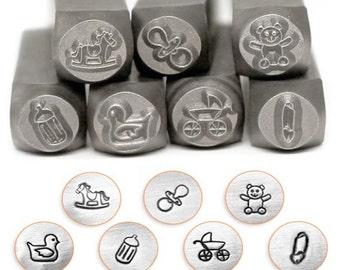 Baby Set, Baby Pack - 7 pc. Pack, SC15K-K-7PC, Baby Stamps, Carbon Steel Stamp, ImpressArt Stamp, Metal Working Stamps, Metal Design Stamps