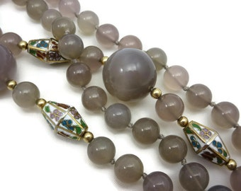 Chalcedony Beaded Necklace - Cloisonne Accents, Long Necklace
