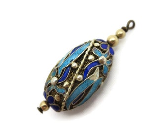 Enamel and Silver Filigree Pendant - Chinese Cloisonne Bead Charm