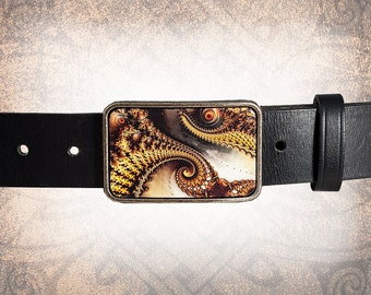 Belt Buckle - Spiral - Leather Insert Belt Buckle