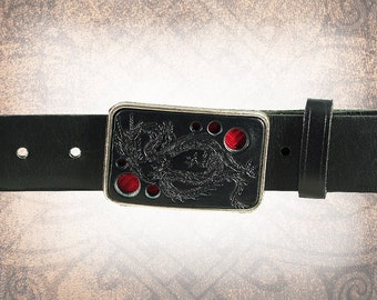 Belt Buckle - Red Dragon - Leather and Brocade Insert Belt Buckle