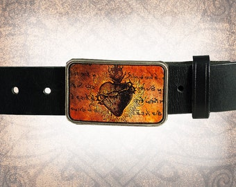 Belt Buckle - Sacred Heart - Leather Insert Belt Buckle