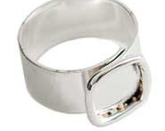 4 Ring Blanks Small Square Sterling Silver Plated Adjustable Wide Band (ND146) Made in USA