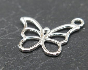 Sterling Silver Butterfly Charm 15mm (ET7752)