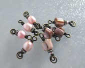 8 small bead dangles charms IN THE PINK pearls abalone shell
