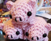 Amigurumi Pig / Crochet Pig / Cute Pig Plush / Pig Plushie / Little Pigs - Mini Fat Baby Pink Piggy - Made to Order