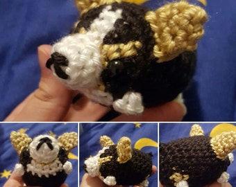 Tri-Color Corgi Amigurumi Crochet Plushie - Mini Fat Crochet Dog Plush - MADE TO ORDER