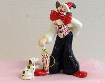 Enesco Ceramic Clown and Dog Figurine