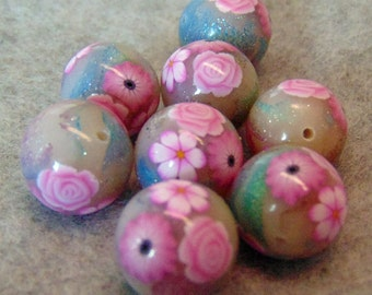 8 polymer clay beads, foiled and flowers