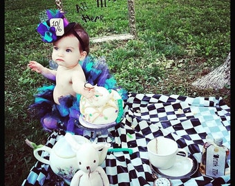 Birthday Outfit, 1st Birthday Tutu Set, Mini Top Hat Headband , Mad Hatter Hat Tea Party, baby headband and hairbows, smash cake headbands