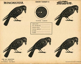 Vintage Paper Shooting Targets, Two 1950's Vintage Winchester Western Ammunition Advertising  Paper Targets with Crows, Unused