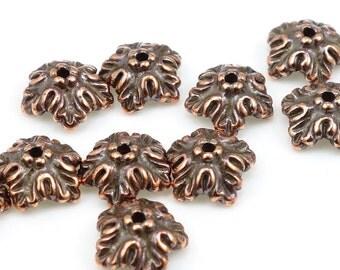 Copper Bead Caps - Oak Leaf Antique Copper Beadcaps - Autumn Fall Leaves Jewelry Supplies by TierraCast  (PC53)