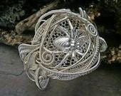 Gothic Steampunk Bright Silver Spider Bracelet Cuff Size 7