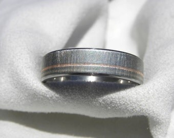 Titanium Wedding Band with White Gold Rose Gold Pinstripes Ring