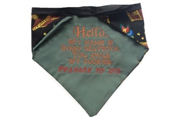 Princess Bride-inspired reversible pet bandana
