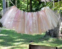 Pink And Ivory Lace Banner Birthday Highchair Bunting Tutu Garland 1st Cake Smash First Set Decorations Princess Flags Shabby Chic Burlap
