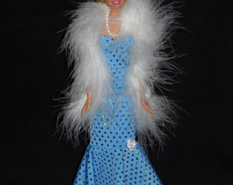 3 Piece Outfit Barbie Doll Dress Handmade Light Blue Sheath Dress with Boa and Necklace