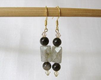 SPLENDOR Stone Bead Earrings, Blue Labradorite, Brown Smoky Quartz, Golden Shadow Swarovski Crystal, 14k Gold Fill, Free Shipping