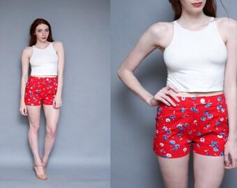 Vintage 70s Red Floral High Waist Lightweight Cotton Shorts - 28 Inch Waist