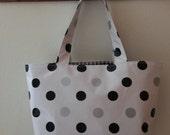 Beth's Medium Black and Silver Polka Dot Oilcloth Market Tote Bag