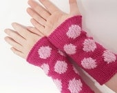 pink and pastel polka dot wrist warmers - knitted arm warmers,  winter accessories