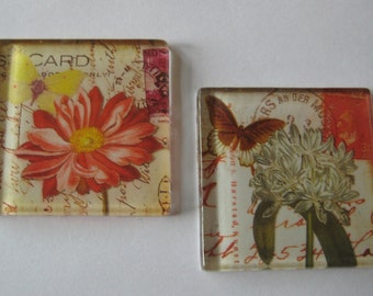 """Fun Floral Themed Square Glass Magnets in 1-7/8"""" Size  Set of 2"""