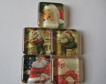 Vintage Santa Square Glass Magnets Set of 5