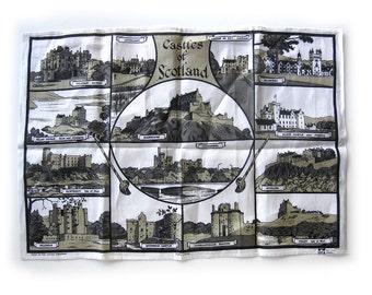 Vintage LINEN Tea Towel - Castles of Scotland - Souvenir - Pure Linen  // Unused