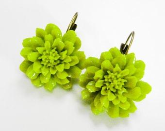 Green Flower Earrings Leverback Lime Green Earrings Closed Clip Earring Dangles