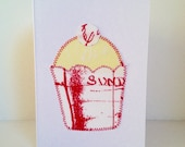 Screen Printed Fabric Birthday 'Cupcake'  Card