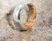Titanium Ring With A Comfort Fit Sindora Wood Sleeve, Wooden Wedding Band, Nature Ring