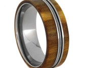 Wooden Wedding Band With Titanium Inner Sleeve, Rowan Wood Ring with Bass String, Gift For Musicians