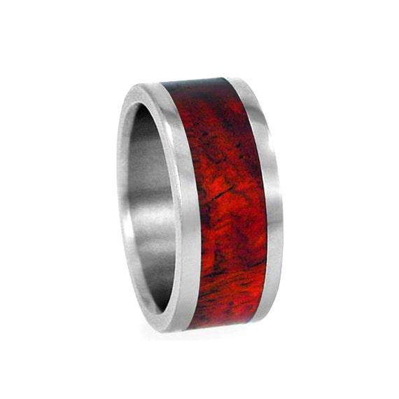 Blood Wood Titanium Ring Wooden Wedding Band By Jewelrybyjohan